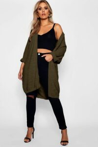 Womens Plus Cocoon Oversized Rib Knit Cardigan - green - 16, Green