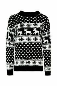 Womens Tall Reindeers Christmas Jumper - black - M/L, Black