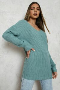 Womens Oversized V Neck Jumper - Green - M, Green