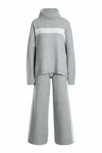 Womens Premium Knitted Sports Athleisure Set - grey - S, Grey