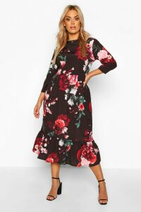 Womens Plus Floral Ruffle Hem Midi Dress - Black - 24, Black