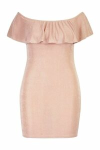 Womens Plus Bardot Ruffle Textured Slinky Mini Dress - Pink - 16, Pink