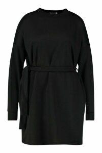 Womens Plus Loopback Waist Belt Sweat Dress - black - 24, Black