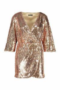 Womens Petite Drape Wrap Sequin Dress - Pink - 10, Pink