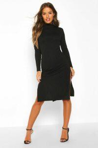 Womens Petite Rib Roll Neck Split Hem Midi Dress - black - 14, Black