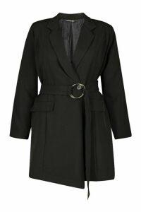 Womens Plus Round Buckle Detail Blazer Dress - black - 16, Black