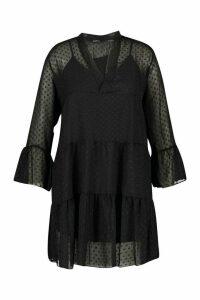 Womens Plus Dobby Mesh 2 In 1 Smock Dress - Black - 16, Black
