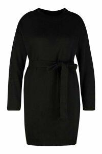 Womens Plus Belted Slouchy Jumper Dress - black - 16, Black