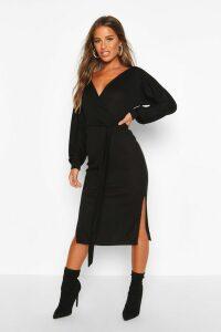 Womens Petite Wrap Ribbed Midi Dress - black - 14, Black