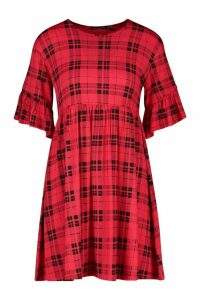Womens Petite Check Smock Dress - red - 10, Red