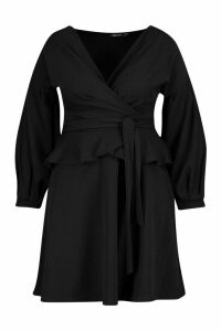 Womens Plus Bardot Peplum Skater Dress - Black - 18, Black