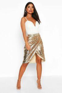 Womens Petite Sequin Wrap Midi Skirt - Metallics - 8, Metallics