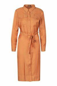 Womens Petite Pocket Metallic Midi Shirt Dress - orange - 6, Orange