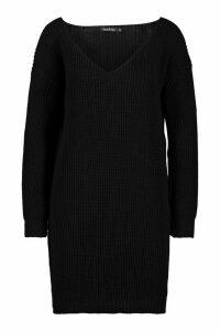 Womens Petite V-Neck Jumper Mini Dress - black - S, Black