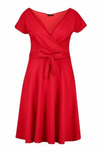 Womens Plus Off-Shoulder Wrap Front Midi Skater Dress - red - 28, Red