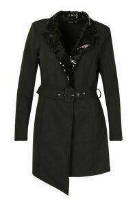 Womens Plus Self Belt Sequin Collar Blazer Dress - black - 24, Black