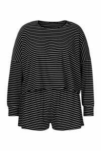 Womens Plus Stripe Oversize T-Shirt + Short Rib Co-ord - black - 20, Black