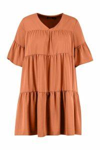 Womens Plus Ruched Detail Smock Dress - Orange - 20, Orange