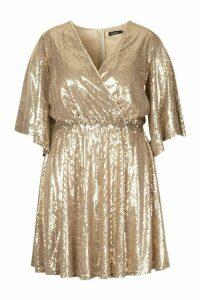 Womens Plus Sequin Kimono Sleeve Skater Dress - Metallics - 22, Metallics