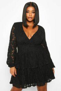 Womens Plus Lace Plunge Ruffle Skater Dress - black - 16, Black