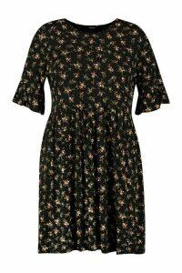 Womens Plus Ditsy Print Floral Smock Dress - Black - 26, Black