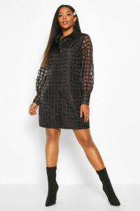 Womens Plus Organza Check Shirt Dress - black - 22, Black