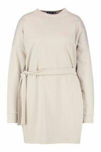 Womens Plus Loopback Waist Belt Sweat Dress - Beige - 16, Beige