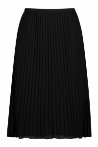 Womens Plus Chiffon Pleated Midi Skirt - Black - 20, Black