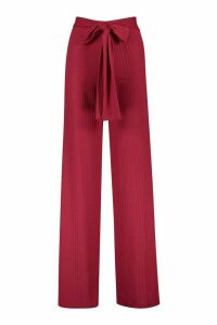 Womens Ribbed Wide Leg Trousers - Pink - 16, Pink