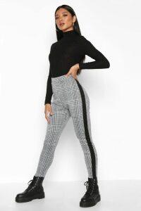 Womens Contrast Mini Check Jacquard Treggings - Black - 8, Black