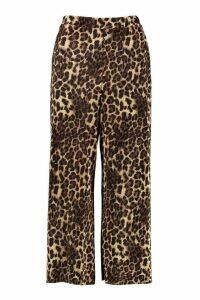 Womens Leopard Plisse Culottes - multi - 14, Multi