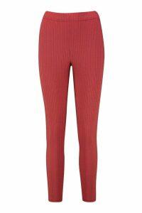 Womens Soft Rib Deep Waistband Leggings - red - 14, Red