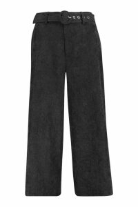 Womens Cord Self Belt Culottes - black - 14, Black