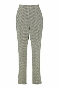 Womens Mini Dogtooth Check Slim Fit Woven Trouser - black - 14, Black