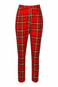 Womens Tartan Crop Trouser - Red - 14, Red