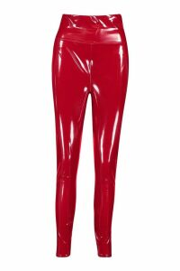Womens Extra Deep Waistband Vinyl Leggings - Red - 16, Red