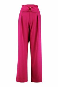 Womens O Ring Wide Leg Trousers - pink - 16, Pink