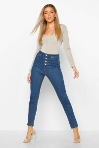 Womens Exposed Button Front High Rise Skinny Jean - Blue - 10, Blue