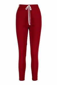Womens Tie Detail Sports Stripe Leggings - red - 12, Red