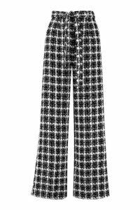 Womens High Waist Belted Wide Leg Boucle Trouser - black - 10, Black