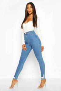Womens Power Stretch Frayed Hem Skinny Jean - Blue - 16, Blue