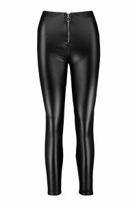 Womens Leather Look Zip Front Stretch Legging - black - XL, Black