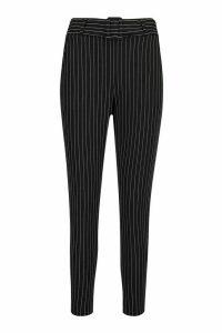 Womens Petite Pinstripe Self Fabric Belt Trousers - Black - 10, Black