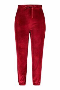 Womens Plus Velvet Tie Waist Jogger - red - 20, Red