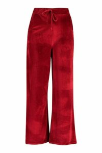 Womens Plus Velvet Tie Waist Wide Leg Trousers - Red - 20, Red