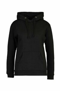 Womens Kangaroo Pocket Hoodie - black - M, Black