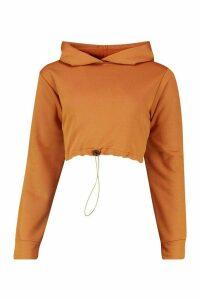 Womens Drawcord Cropped Hoodie - beige - 14, Beige