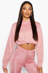 Womens Drawcord Cropped Hoodie - pink - 10, Pink