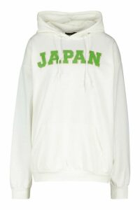 Womens Japan Slogan Print Hoodie - cream - L, Cream