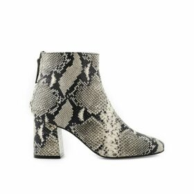 Snake Print Heeled Leather Boots